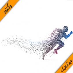 دانلود وکتور پس زمینه ورزشی یک دونده – Background with a person running Vector